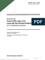 BS873_4 Road Traffic Signs and Internally Illuminated Bollards