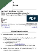 Psychrometrics e Thermal Comfort