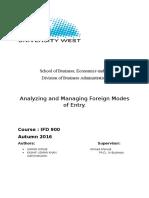 International Management (Mode of Entries)