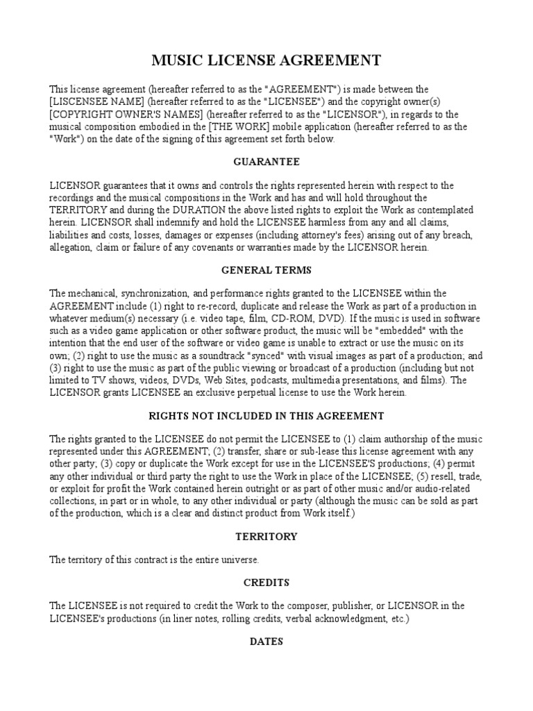 Music License Agreement License Private Law