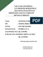 Daftar Nama Penerima Tunjangan Profesi Semester II Tahun 2015 Pengawas Penjas