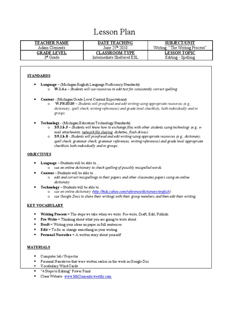 Lesson Plan The Writing Process Editing Spelling Spelling Lesson