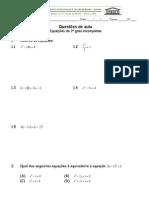 9 ano Quest  6 - Equações do 2º grau incompletas