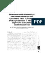 2011_Efeco de Un Modelo de Metodología Centrada en El Aprendizaje Sobre El Pensamiento Critici