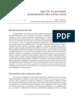Siglo XXI la universidad el pensameinto critico y el foro virtual.pdf
