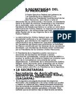 Las 18 Secretarías Del Estado Mexicano