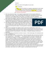 Self Assessment Print Construction Mark Scheme