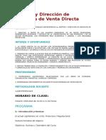 Gestión y Dirección de Negocios de Venta Directa
