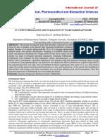 In- Vitro Formulation and Evaluation of Tolbutamide Liposome - Taj Pharmaceuticals Ltd., India