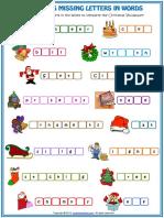 Christmas Vocabulary Missing Letters in Words Esl Worksheet
