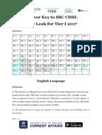 Answer Key to SSC CHSL Live Leak Tier I 2017