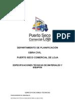 Especificaciones Obra Civil Puerto Seco Comercial de Loja