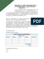 Acta de Compromiso de Libre Disponibilidad y Entrega de Terreno Para La Ejecucion Del Proyecto