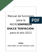 Manual de Funciones Para La Microempresa Dulce Tentación