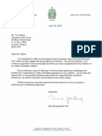 Letter From The Honourable Michael Ignatieff, M.P. To Canadian Hero Fund June 16, 2010
