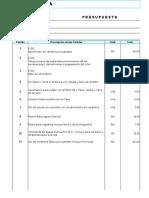 Presupuesto de Baños Nov 2016