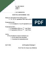 Planificare ex. Septembrie + mariri calificativ an I Med. 2016