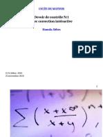 Devoir de Contrôle N°1 Avec correction - Math - Bac Mathématiques (2016-2017) Mr Hamda Abbes