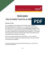 Media Update - 1901 26th St E - Tar Kettle Truck Fire (16DEC2016)