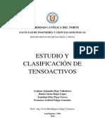 Estudio y Clasificacion de Tensoactivos