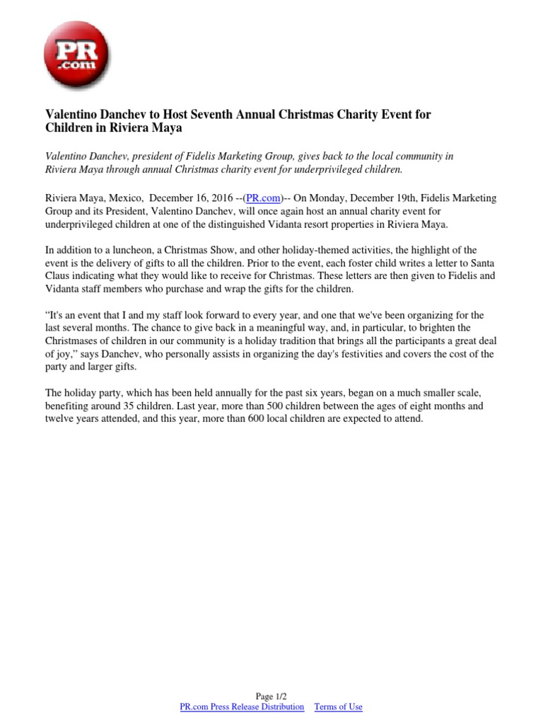 Valentino Danchev To Host Seventh Annual Christmas Charity Event