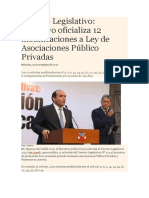 Decreto Legislativo, Ejecutivo Oficializa 12 Modificaciones a Ley de Asociaciones Público Privadas
