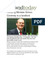 Housing Minister Simon Coveney is a Landlord traitor