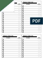 Master Task List Centered