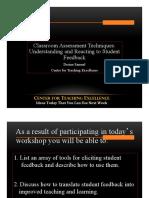CTE Workshop on Classroom Assessment Techniques