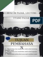 Hukum Pajak, Lecture