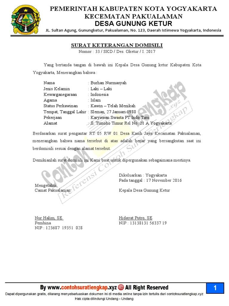 Contoh Surat Keterangan Domisili Usaha Dari Kelurahan Doc