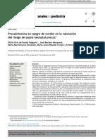 Procalcitonina en Sangre de Cordón en La Valoración Del Riesgo de Sepsis Neonatal Precoz