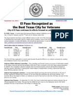 111015 - El Paso Recognized as the Best Texas City for Veterans