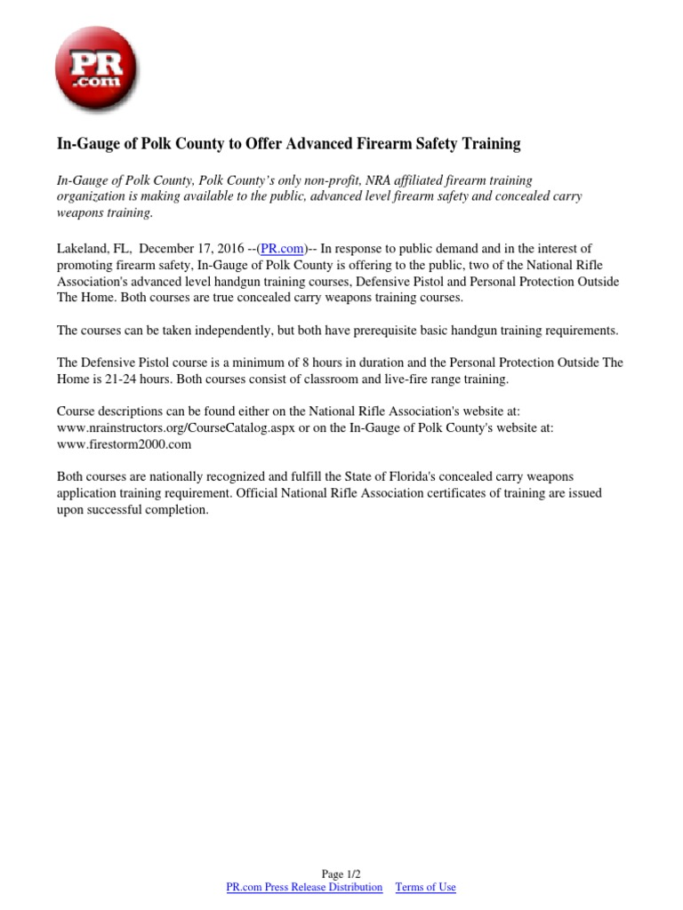 In Gauge Of Polk County To Offer Advanced Firearm Safety Training