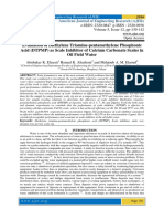 Evaluation of Diethylene Triamine-pentamethylene Phosphonic Acid (DTPMP) as Scale Inhibitor of Calcium Carbonate Scales in Oil Field Water