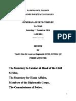 Le discours du Premier ministre, sir Anerood Jugnauth, lors du Passing Out Parade