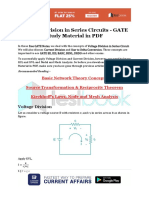 Voltage Division in Series Circuits - GATE Study Material in PDF