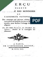 Aperçu présenté au Comité des monnoies de l'Assemblée nationale, des avantages qui peuvent résulter de la conversion du métal de cloches en monnoie moulée, pour faciliter l'echange des petits assignats / par M. l'Abbé Rochon, ...