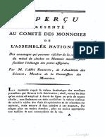 Apperçu prèsenté au Comitè des monnoies de l'Assemblée nationale, des avantages qui peuvent resulter de la conversion du metal de cloches en monnaie moulée ... / par M. l'Abbé Alexis Rochon ...