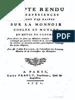 Compte-rendu des expèriences qui ont été faites sur la monnaie coulée et moulèe en mètal de cloches ... / par M. l'Abbé Alexis Rochon ....
