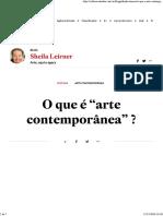 Sheila Leirner - o Que é Arte Contemporânea