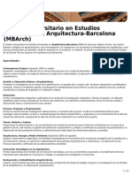 Máster Universitario en Estudios Avanzados en Arquitectura-Barcelona (MBArch) (ETSAB)