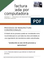 Unidad 1 - Subtema 1.3 Procesos de Manufactura Convencionales