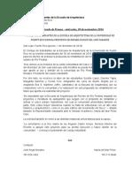 Endoso del Consejo de Estudiantes de la Escuela de Arquitectura de la UPRRP
