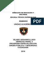 Silabo Derecho Penal II -Orden Publico