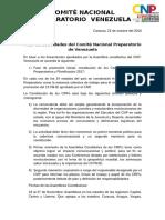Plan de Actividades Del Comité Nacional Preparatorio de Venezuela