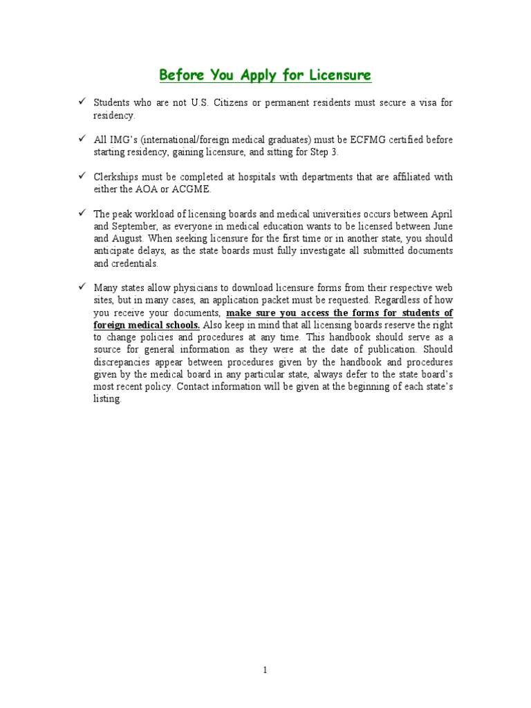 Licensing Handbook Residency Medicine Licensure