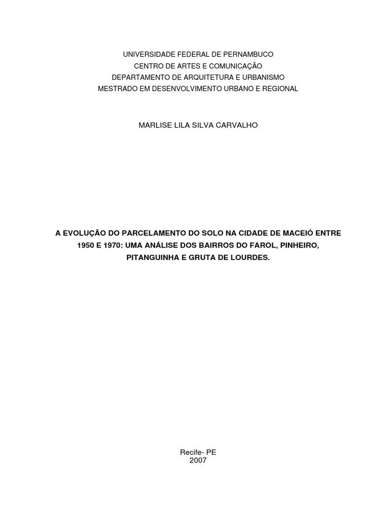 A Evolução Do Parcelamento Do Solo Na Cidade de Maceió ec6f864e9a