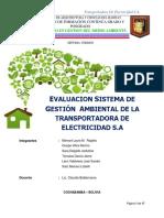 Evaluacion Sistema de Gestión Ambiental de La Transportadora de Electricidad s.A
