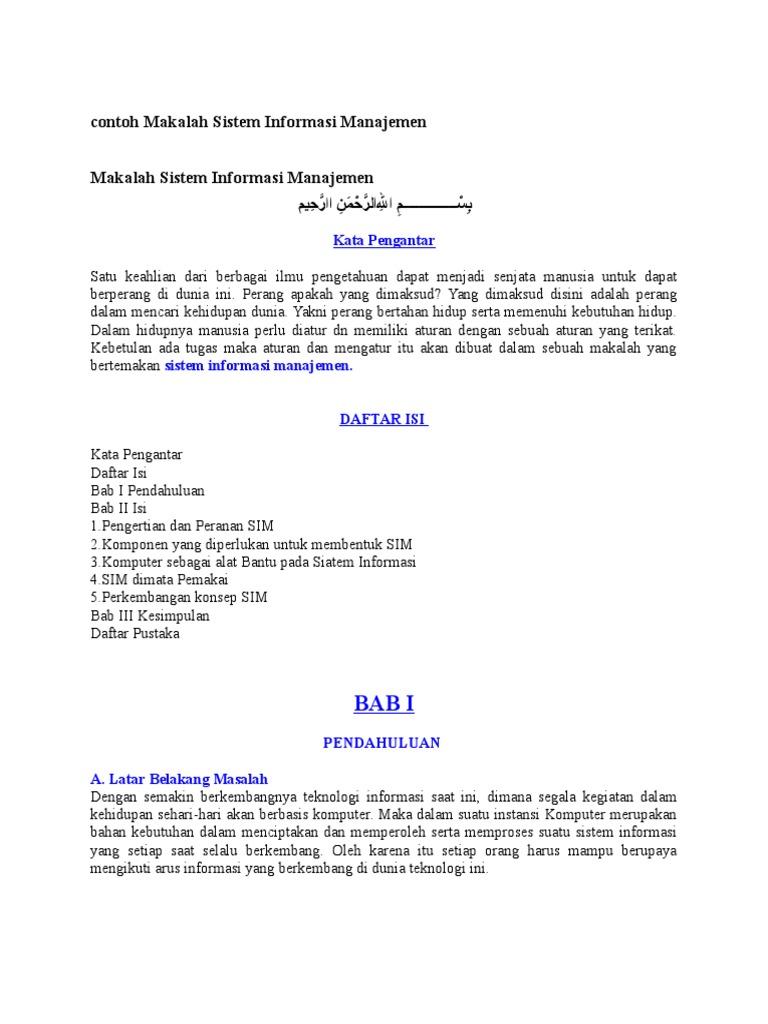 Contoh Makalah Sistem Informasi Manajemen Docx
